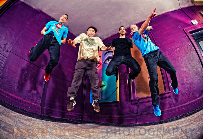 J.R. Noble (D.J. Simple), T.J. Veith (TMoney), Shane Fry (Bboy dupree) and Paul Laurie (just paul) at Verve Dance Studio.