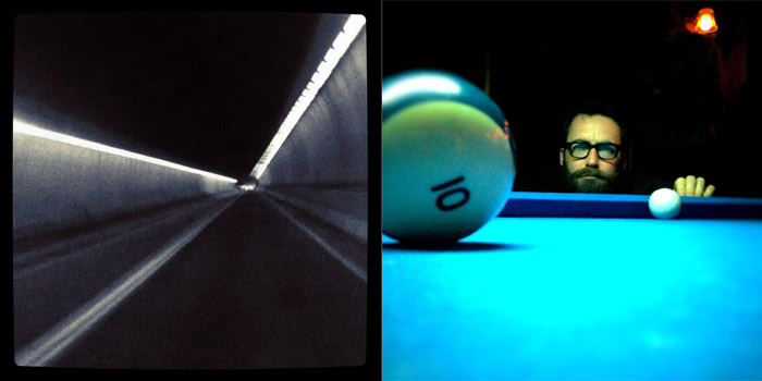 iPhone image of, Mike O'Hara, playing pool at Essex Street Pub in Buffalo, New York.