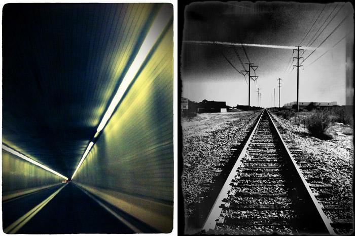 iPhone photo of railroad tracks and auto tunnal.