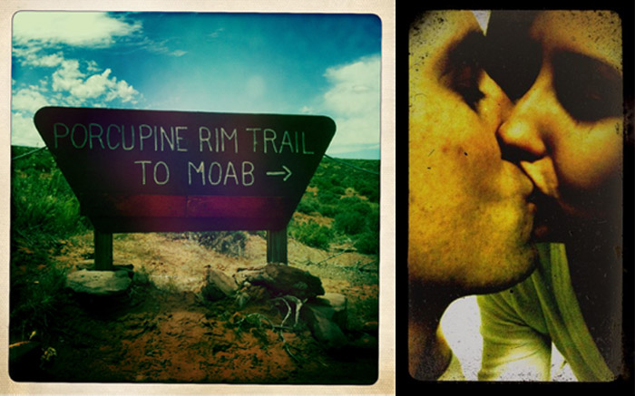 iPhone photos photo of Porcupine rim trail sign and kissing amy fowler spilledinkimaging