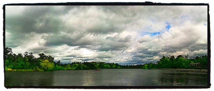 panoramic iPhone photo of Hoyt Lake, Buffalo, New York.