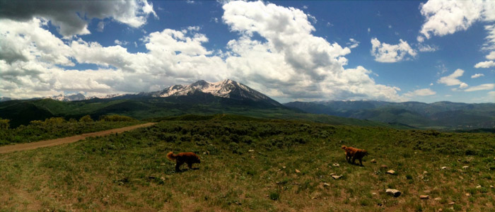 panoramic iphone photo of Mt. Sopris. in Pitkin county, colorado.